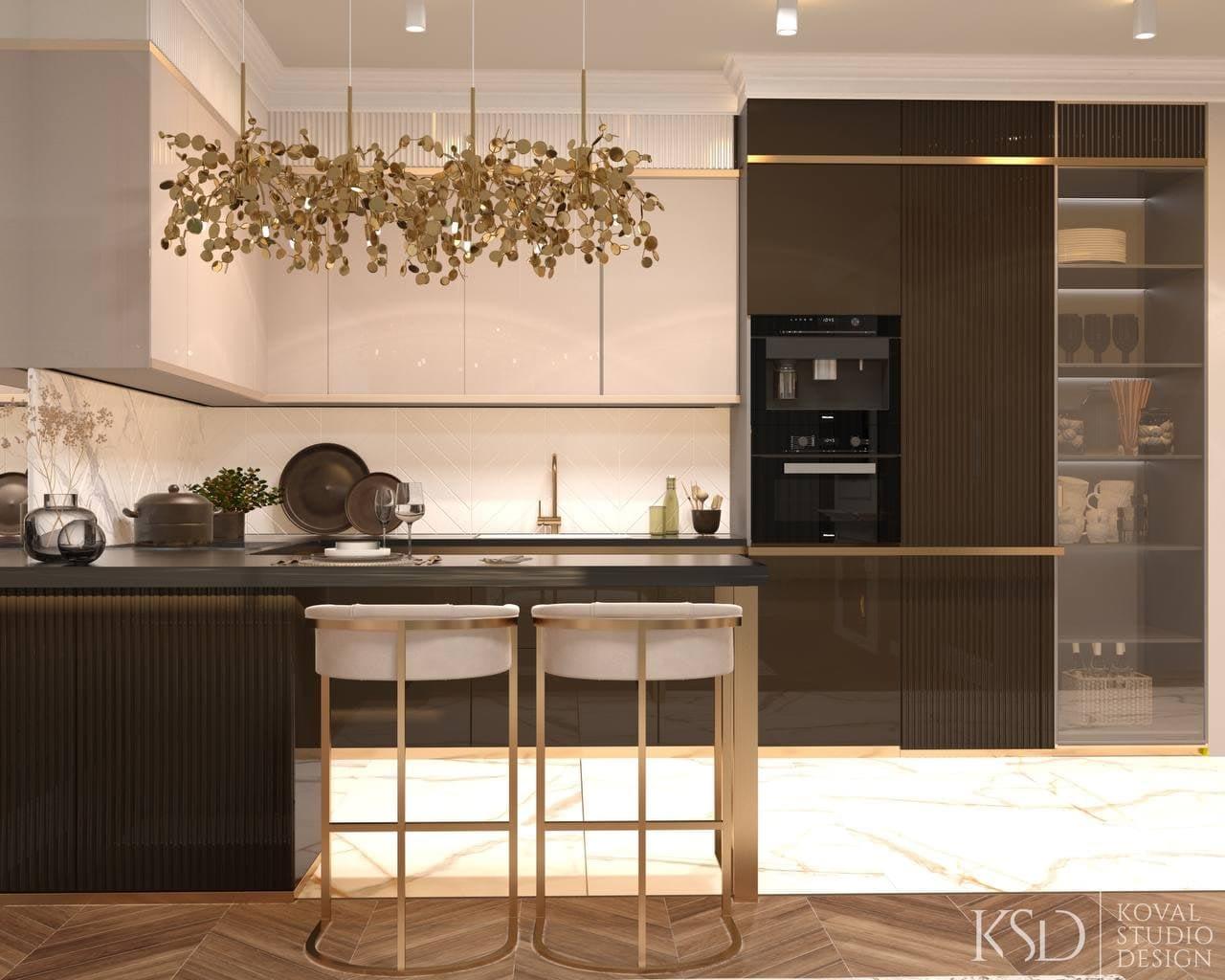 интерьер смежной кухни и гостиной